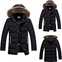 11876d7ae2ddb1 OHQ Warme Winterjacke Herren mit Kapuze Outdoor Gefüttert Baumwolle Jacke  Männer Dicker Wintermantel Parka Jacke