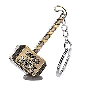 Thor Hammer Marvel Avengers Superhero Gold Metal Ring Key Chain