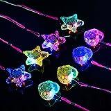 Tinksky 8PCS Colorful LED Sparkle Plastic Necklace and Shining Pendants (4PCS Pentacle Star and 4PCS Heart Shape)