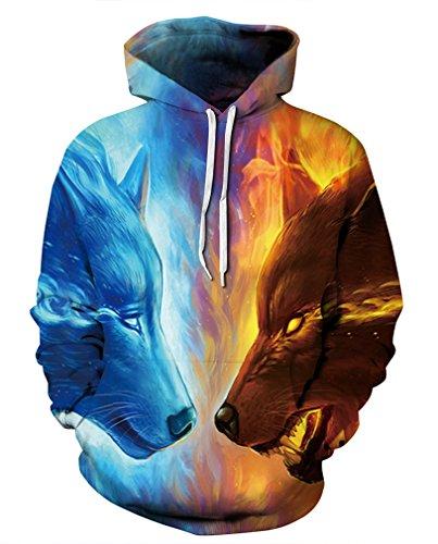 (Leslady Unisex Herren Slim Fit 3D Druck Kapuzenpullover Kapuzen Sweatshirt Winter Hoodie Pullover(Large/X-Large, 5-Krieger Wolf))