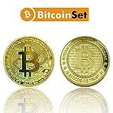 2 pièces, ensemble, pièces de collection de pièces de monnaie BITCOIN, médaillon plaqué or véritable 2 design différent