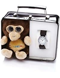 Boxed Presentation Gift Set Cuddly Toy and Childrens Wrist Watch - Kids Black Watch with Monkey