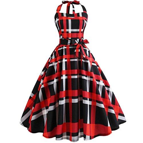 d Vintage Neckholder Party Prom Swing Abendkleid Geburtstags Geschenke(Rot,EU-40/CN-L) (Viktorianischen Kleid Kinder)