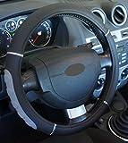 Universal-Lenkradbezug für Autos, rutschfest, Durchmesser 37–39cm, Farbe: Schwarz / Grau / Chromfarben