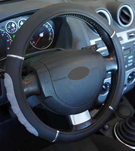 'Ausgezeichnete Qualität' Universal Lenkradbezug chrom schwarz grau für Auto Anti rutsche Durchmesser 37–39cm + 1Wandtattoo PC