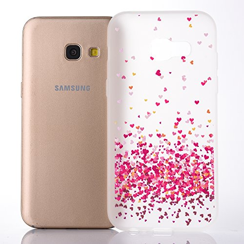 Hülle für Galaxy A3(2017) Soft TPU,Galaxy A3(2017) Weich Silikon Hülle,Hpory Flexible TPU Colorful Painted Muster Ultra-thin Schwarz Boden Silicone Gel Handyhülle Handy Gehäuse Hülle für Mädchen Männe Weiß, Liebe