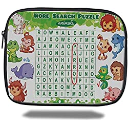 Juzijiang Tablet Bag for iPad Air 2/3/4/mini 9.7 inch,Word Search Puzzle,Educational Game for Kids Decorated with Cute Animals Worksheet Print,Multicolor,Bag