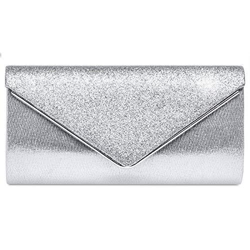 Caspar TA511 elegante Damen Envelope Glitzer Clutch Tasche Abendtasche, Farbe:silber, Größe:Einheitsgröße