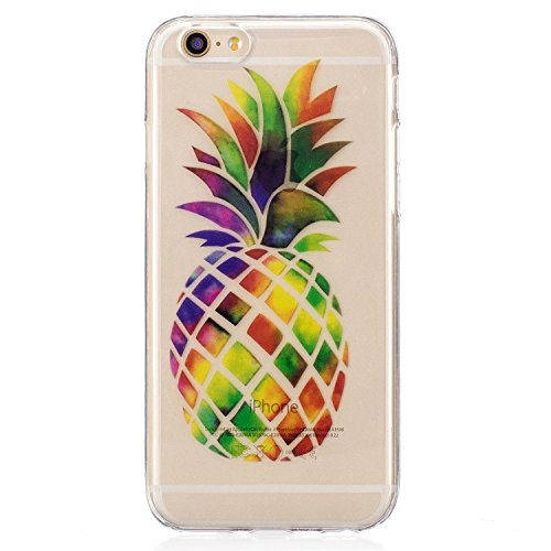 Custodia iPhone 6, iPhone 6S Cover Silicone, SainCat Cover per iPhone 6/6S Custodia Silicone Morbido, Ultra Slim Transparent Silicone Case Ultra Sottile Morbida Transparent TPU Gel Cover Case Shock-Ab Colore Ananas
