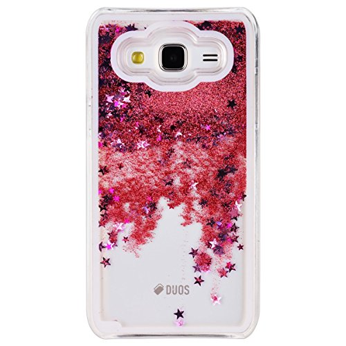 Samsung Galaxy J3 Custodia, Samsung Galaxy J3 PC Back Cover in Plastica Trasparente 3D Glitter Scintillanti Stelle Quick and Mode Liquido Rigido Bling Della Stella Caso Transparent Sottile Anti Scivol Rosa