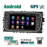Android Autoradio per Ford GPS Navigatore CAMECHO Touch Screen capacitivo da 7 pollici Autoradio WIFI Bluetooth FM Dual USB per Ford Focus Mondeo C-MAX S-MAX Galaxy II Kuga