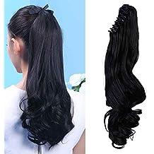 """18"""" Queue de Cheval Postiche Extension de Cheveux (Attachée par Pince/Griffe) Ondulé - Claw on Ponytail Clip in Hair Extensions - Noir Naturel (45cm-145g)"""