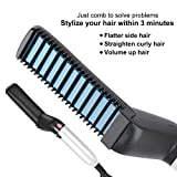 Hair Straightener Comb for Men, Multifunctional Men's Smooth Brush Hair Styler Salon Hairdressing Styling Iron Comb for Hair Curling and Straightening (UK Plug)