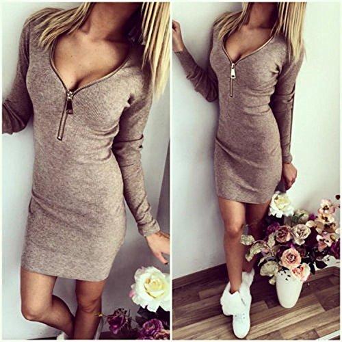 Minetom Damen Herbst Frühling V-Ausschnitt Kleid Slim Fit Partykleid Langarm Minikleid Grau