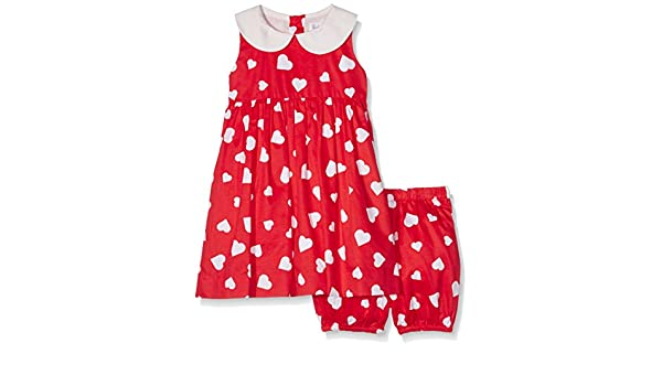 e0b2494b9737 Rachel Riley Baby Girls' Heart Peter Pan Collar Dress and Bloomers,  Multicoloured (Red/Ivory), 2 Years: Amazon.co.uk: Clothing
