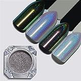 NICOLE DIARY 1 Scatola di polvere per unghie olografica Laser Chameleon Rainbow Nail Art Decorazione per manicure a pigmenti cromati # BX03