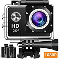 Action Camera Sport Camera 1080P Full HD Waterproof Underwater Camera With 140° Wide-angle Lens 12MP 2 Rechargeable Batteries and Mounting Accessories Kit - E4002