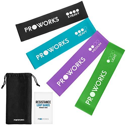 Proworks fasce elastiche set di 4 fasce elastiche resistenti per il fitness e l'esercizio, yoga, pilates, la palestra o la riabilitazione