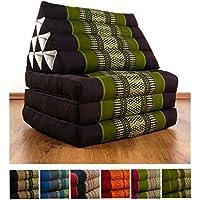 Preisvergleich für Thaikissen der Marke Livasia, Thaikissen mit 3 Auflagen, asiatisches Dreieckskissen, orientalisches Sitzkissen als Sitzsack für Entspannung und Wellness (braun / grün)