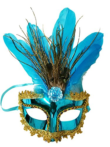 anische mit Federn Blau Maske Maskerade Karneval Fasching Verkleidung Kostüm Halloween Party Maskenball Ball Shades of Grey Mr Grey Mitternacht (Blauen Feder Kostüme Maske)
