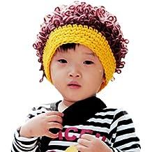 LOCOMO bebé Crochet de Punto Rib Afro Bob peluca de payaso Fake pelo gorro FBA037PUR