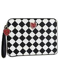 Betsey Johnson Checkered Wristlet Pouch Black/White