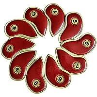 pushfocourag - Juego DE 10 Fundas de Piel sintética para Cabeza de Golf, Protector de Cabeza de Cortador de Hierro, Rojo