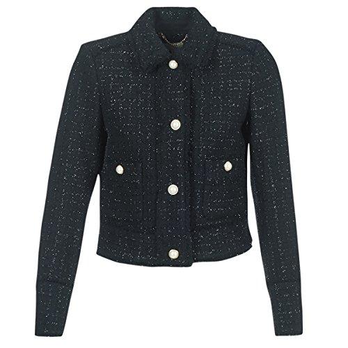 Michael Michael Kors Womens 2 Pkt Fray Tweed Jkt Schwarz Jacken/Blazers L