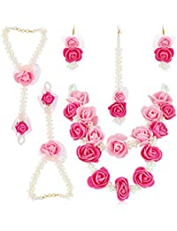 Oviya Floret Pink Color Gota Patti Necklace, Earrings, Haath Paan With Finger Ring & Maang Tika For Women/Girls...