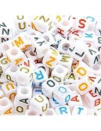 200X Abalorios Cuadrado Plástico Letras Multicolor Blanco 6mm