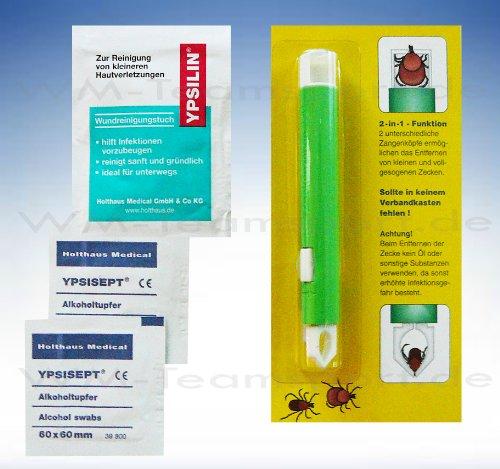HM Zeckenzange mit Doppelkopf , Wundreinigung und Alkoholtupfern zur Vermeidung von Infektionen