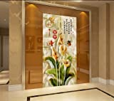 Y-Hui 3d magnolia flower entrance background wall murals jade carving corridor aisle nonwovens wallpaper vertical version wallpaper home and,180cmX120cm