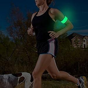 Slap Bracelet LED, LED Glow Bracelet, Bracelet, brassard, sur Interrupteur, batterie remplaçable, pour enfant, cycliste, coureurs, résistant à l'eau, Haute Visibilité,
