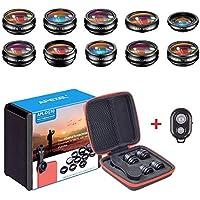 APEXEL 11in1 Kit obiettivo Obiettivo grandangolare e macro+obiettivo fisheye + teleobiettivo+caleidoscopio/CPL/flusso/radiale/filtro a stella+otturatore per iPhone e la maggior parte degli smartphone
