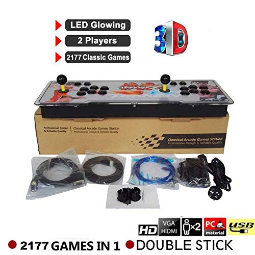 WXGY 2177 in 1 3D Pandora's Key 7 Box Retro Arcade Game Console 1080P Full HD Arcade Machine Compatibile con Scheda TF estesa e Disco USB, Controller di Gioco di 2 Giocatori
