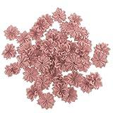 F Fityle 50x Künstliche Blütenköpfe Blumen Köpfe Deko Basteln Tischdeko Streudeko Applikation DIY Hanswerk Basteln Dekoration - Altrosa