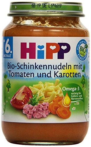 HiPP Bio-Schinkennudeln mit Tomaten und Karotten, 6er Pack (6 x 190 g)