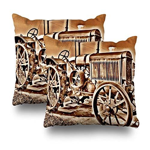 Set of 2 Throw Pillows Covers for Couch/Bed 18 x 18 inch,Antique Tractor Farm Equipment Classic Sepia Home Sofa Cushion Cover Pillowcase Gift Decorative Hidden Zipper Summer Beach Sunlight (Equipment Antique Farm)