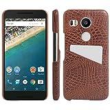 NEXUS 5X Custodia, hualubro [Card Slot] LG Nexus 5X Custodia, Premium [Ultra Slim] PU Pelle Effetto Coccodrillo Custodia protettiva Case Cover Per GOOGLE NEXUS 5X smartphone, Pelle, Card Slot Brown, For Nexus 5X