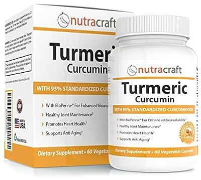 Turmeric Curcumin 1300mg Supplement with Bioperine - 100% Money Back Guarantee - Highest Potency 95% Standardized Curcuminoids - Premium Anti-Inflammatory & Joint Support - 60 Vegetable Capsules