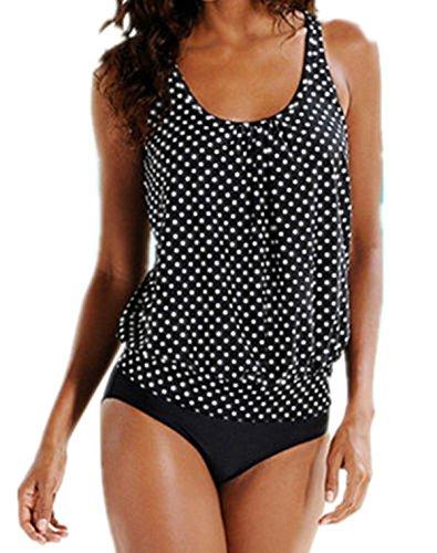 Crazycatz@Damen Oversize Tankini Sets Badeanzug (EU 48, Black Polka)