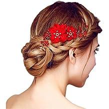 Diseño De Flores Peineta Decorativo Con Cristales De Perlas Accesorio Para El Pelo Peine Color Rojo Para Mujer Fiesta Boda Para Cabello