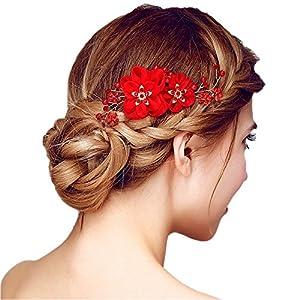 HABI Haarschmuck rot / weiß Blumen / Blumchen Kristalle Accessoires Brautschmuck Hair Decoration für Party,Hochzeit