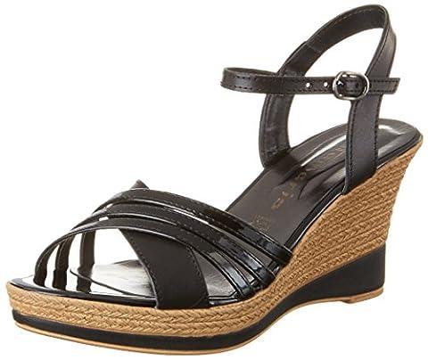 Tamaris Damen 28394 Offene Sandalen mit Keilabsatz, Schwarz (Black Uni 007), 39 EU
