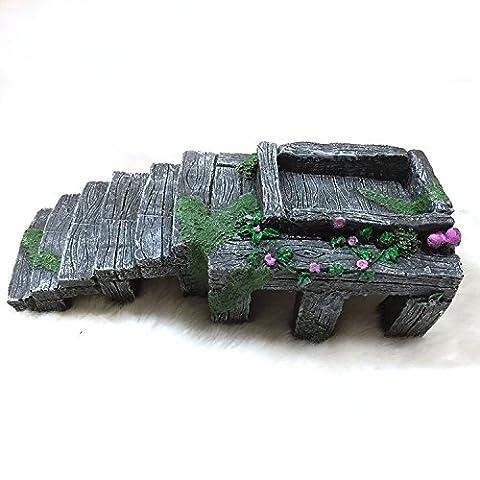 Gorgebuy Dunkelgrau Grün Aquarium Landschaft Schildkröte Reptile Plattform Klettern Stein Habitat Ornament Höhle Hide Kunstharz Craft aus