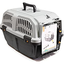 BPS (R) Transportín de plástico para perros y gatos Mascota Color Gris/ Gris Oscuro 60* 40* 39cm Tamaño L BPS-4142