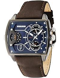 Policía Scorpion Hombre Reloj de cuarzo con Esfera Analógica Azul Pantalla y Correa de piel color marrón 14698jsu/03