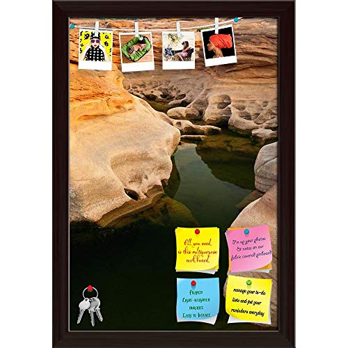 Artzfolio Sam Phan Bok Rock Canyon Beside Khong River Thailand Printed Bulletin Board Notice Pin Board | Dark Brown Frame 12 X 17.5Inch - River Rock Frame