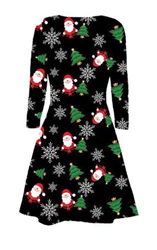 FK Styles Frauen Kleid Langarm Weihnachtsweihnachts Neuheit Printed ...