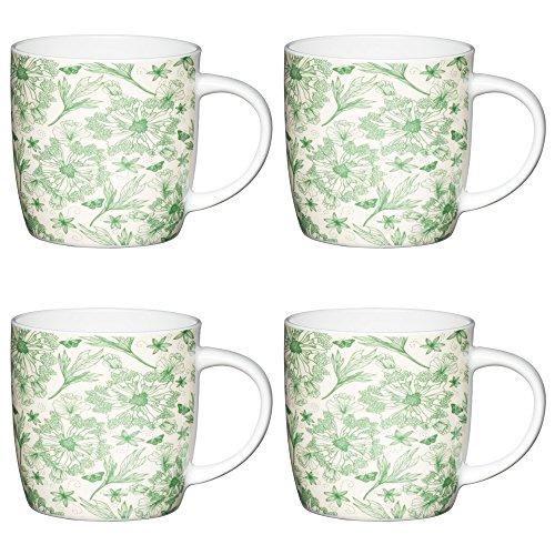 Kitchen Craft Botanisches Blatt FA-ssförmige Becher mit Naturdrucken, 425 ml, Porzellan, Grün/weiß, 12.4 x 8.9 x 9 cm, 4-Einheiten -